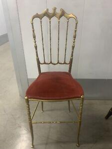Italian Brass Chair by Chiavari, Upholstery Pink Velvet