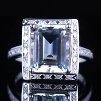 1.3ct Emerald Cut Blue Aquamarine Vintage Engagement Ring 14k White Gold Finish