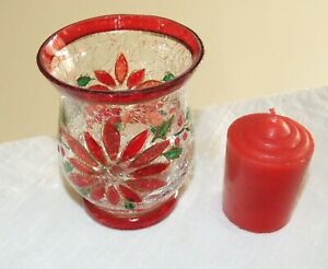 Yankee Candle Poinsettia Crackle Glass Votive Holder, Hand Painted w/ Candle
