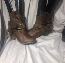 Not Rated FROM THE BUCKLE LACE BOW Legacy Beaded Short ANKLE Boots SZ 10 BROWN