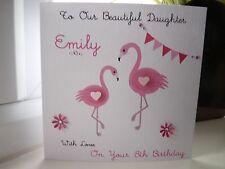 Handmade Personalised Girl Girls Female Flamingo Birthday Card Daughter Sister