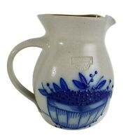 SALMON FALLS STONEWARE 1993 Pottery Salt Glaze Blueberry Basket Jug Pitcher 7""