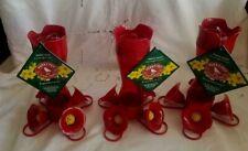 New 1 Lot of 3 Perky-Pet Red Pinch Waist Plastic Hummingbird Feeders - 8 oz.