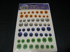 VTG 90's 1993 Spider Bat Skeleton Jack-O-Lantern Halloween Finger Nail Stickers