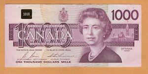 Canada $1000 Dollars VF/XF Prefix EKA 1988 P-100b/BC-61b Bonin-Thiessen Banknote