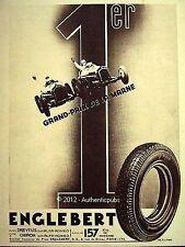 PUBLICITE PNEU ENGLEBERT GRAND PRIX DE LA MARNE DREYFUS ALFA ROMEO DE 1935 AD