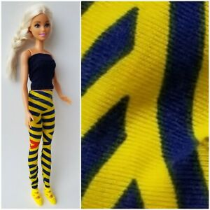 Barbie Doll Clothes Shirt/Top Pants/Leggings Outfit w/ Shoes Navy Yeliow Striped