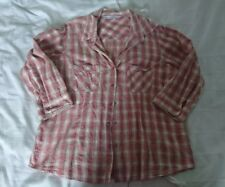 Ladies Check Shirt Size 12 Orange Red Country loose Cowgirl Casual peacocks evie
