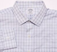 BROOKS BROTHERS Long Sleeve NON IRON Dress Shirt Blue White Plaid 16.5 36 Slim