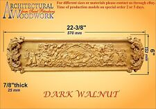 "Hand Carved Solid Hardwood Fireplace Decor / Applique. Over 22"" long"