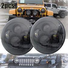 "97-16 Jeep Wrangler Round 7"" Black LED Hi/Lo Beam H4 Projector Headlights Pair"