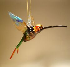 Blown Glass Figurine Bird Hanging Colorful Swallowtail HUMMINGBIRD Ornament