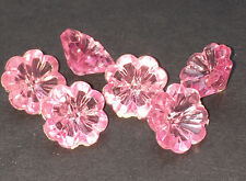 6 Vintage 12mm Sparkly Pink Flower Buttons - Gorgeous