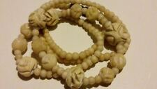 "PRETTY 1940 Vintage Carved Flower Beads Bone/Bovine CHOKER NECKLACE 16"" Long**"