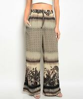Palazzo women pants grey border print wide leg Pant casual party S M L