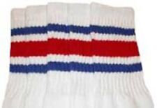"""25"""" KNEE HIGH WHITE tube socks with ROYAL BLUE/RED stripes style 3 (25-17)"""
