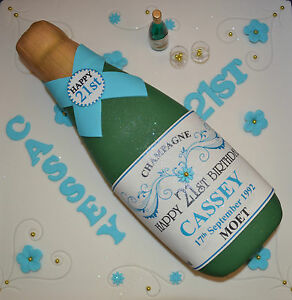 Edible PERSONALISED CHAMPAGNE BOTTLE LABEL Icing Sheet Birthday Cake Topper