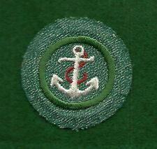 VINTAGE GIRL SCOUT BADGE - BRIGHT MEDIUM GREEN - BOATING - FREE SHIPPING