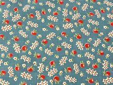 New listing Vintage Feedsack Tiny Print Cherry Apples Fence Blue Background 44 x 37