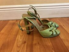 VALENTINO Garavani LIGHT GREEN SNAKE SKIN PLATFORM SANDALS Sz 40 MADE IN ITALY