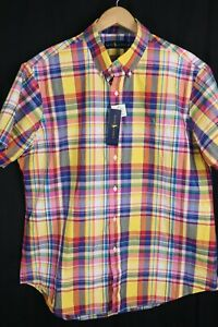NWT Ralph Lauren Mens sz XL Multi Color Plaid Short Sleeve Button up Shirt