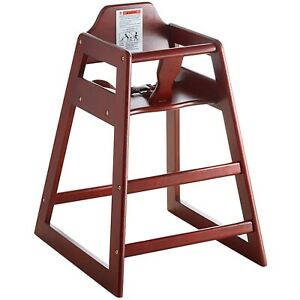 WOODEN MAHOGANY RESTAURANT STYLE HIGH CHAIR WITH CHILD SEAT SAFETY STRAP ASTM