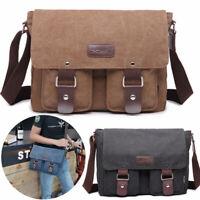 "Men's Vintage Canvas Leather Satchel 14"" Laptop School Shoulder Messenger Bag"