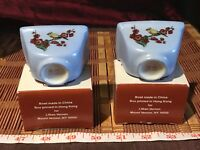 "2 Asian Porcelain Small Blue Bowls w/ Flowers & Birds 2 5/8""x1 7/8"""