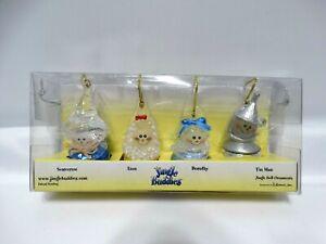 2003 Wizard of Oz Jingle Buddies Ornaments Scarecrow, Lion, Dorothy, Tin Man New
