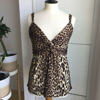 Elie Tahari Animal Printed Sweet Heart Strap Top - size L
