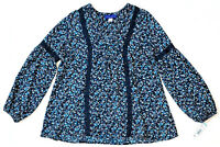 Simply Styled Women's Crochet Peasant Top, Navy, Small MSRP $40.00