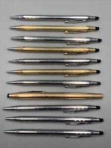 Lot of 11 Cross Metal Ballpoint Pens & Pencils Estate Find 4 Gold Filled