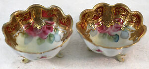 2 Kutani Small Footed Bowls with Hand Painted Flowers & Lots of Gold Decoration