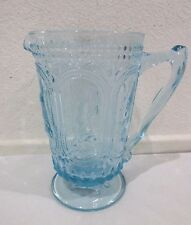 Easter Hobnail Bunny Rabbit Knobby Footed Blue Glass Pitcher