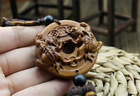 Wood Carving Chinese Wealth Double Pixiu Pi Yao Dragon Car Pendant Amulet Craft