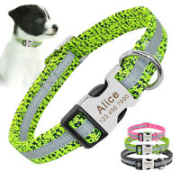 Reflective Custom Dog Collars Nylon Personalised Name ID Tag Pink Green Black