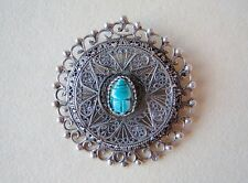 Antique Circa 1890-1910 Sterling Silver Filigree Scarab Beetle Brooch Pendant