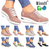 Womens Hidden Wedge Heel Sneakers Trainers Ladies Platform Casual Slip On Shoes