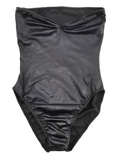 VINTAGE NORMA KAMALI OMO S One-Piece STRAPLESS METALLIC Swimsuit USA Black Foil