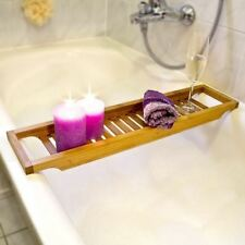 NEW WOODEN BAMBOO BATHROOM STORAGE CADDY SHELF RACK BRIDGE TUB TRAY