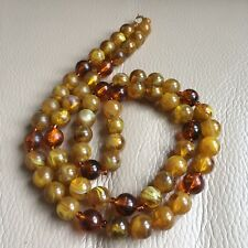 Vintage Retro 1980s Art Deco Revival Faux Amber Plastic Bead Necklace 32in