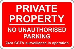 Private property no unauthorised parking 24 hour  safety metal park safety sign