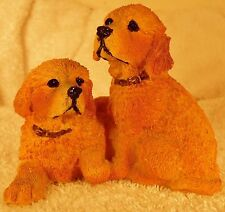 Dog Figurine GOLDERN RETRIEVER 2 Pups Sitting 1990's WHIMSICAL ADORABLE