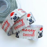 Christmas Printed Ribbon Pug Dog  25mm  x 1m Cut Piece Gift Wrapping Card Craft