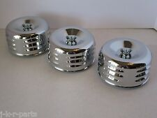 "CHROME 4 5/8"" LOUVERED AIR CLEANERS (3) TRI POWER 1& 2 BBL HOT ROD #2339-3"