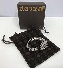 ROBERTO CAVALLI TIGER BRACELET CLAMPER NWT SILVER BLACK ENAMEL SWAROVSKI XS/S