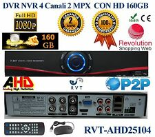 DVR 4 Canali AHD CH HARD DISK 160GB P2P CLOUD WEB SERVER PTZ HDMI 2 MEGA PIXEL