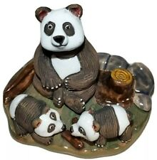 Casals Peru Panda bear & cubs habitat Figurine rare Vintage Pottery hand made