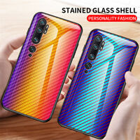 For Xiaomi Mi Note 10/10 Pro Carbon Fiber Rainbow Tempered Glass Back Case Cover