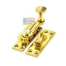 Polished Brass ARM TYPE SASH WINDOW FASTENER Lever Lock Catch Latch Solid